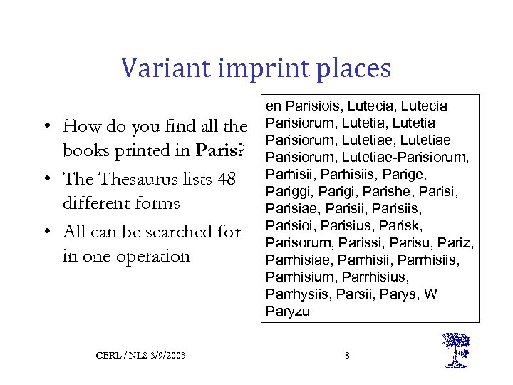 Variant imprint places • How do you find all the books printed in Paris?