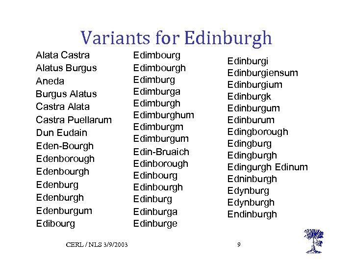 Variants for Edinburgh Alata Castra Alatus Burgus Aneda Burgus Alatus Castra Alata Castra Puellarum
