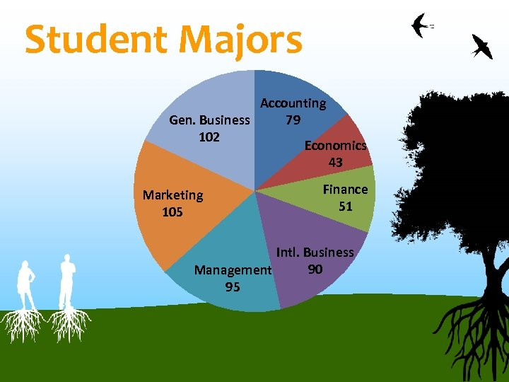 Student Majors Accounting Gen. Business 79 102 Economics 43 Marketing 105 Finance 51 Intl.