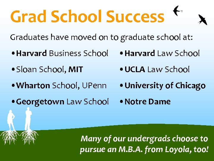Grad School Success Graduates have moved on to graduate school at: • Harvard Business