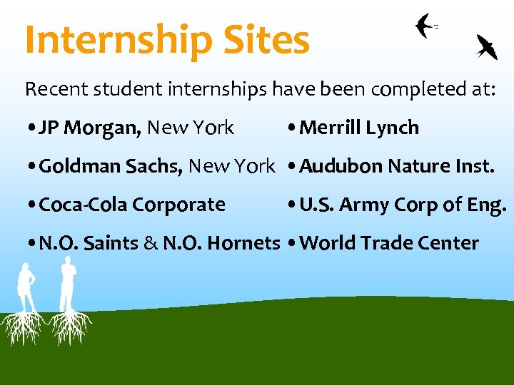 Internship Sites Recent student internships have been completed at: • JP Morgan, New York