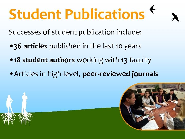 Student Publications Successes of student publication include: • 36 articles published in the last