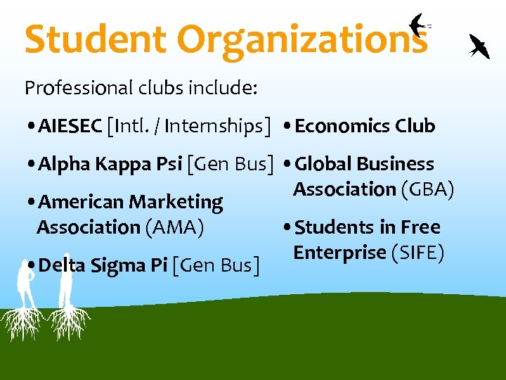Student Organizations Professional clubs include: • AIESEC [Intl. / Internships] • Economics Club •