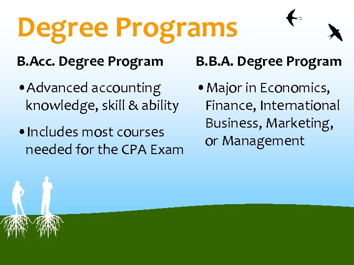 Degree Programs B. Acc. Degree Program B. B. A. Degree Program • Advanced accounting