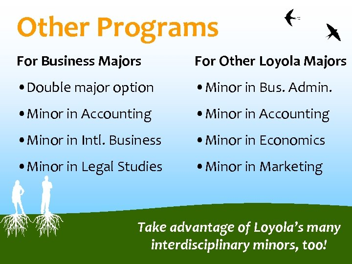 Other Programs For Business Majors For Other Loyola Majors • Double major option •