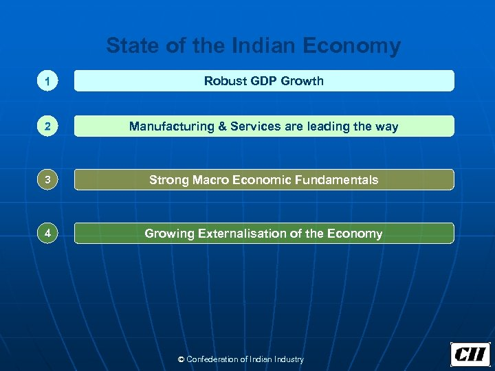 State of the Indian Economy 1 Robust GDP Growth 2 Manufacturing & Services are