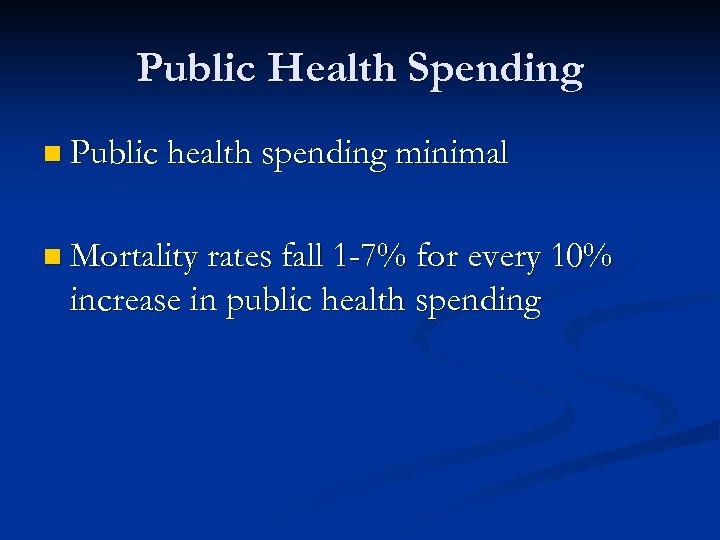 Public Health Spending n Public health spending minimal n Mortality rates fall 1 -7%
