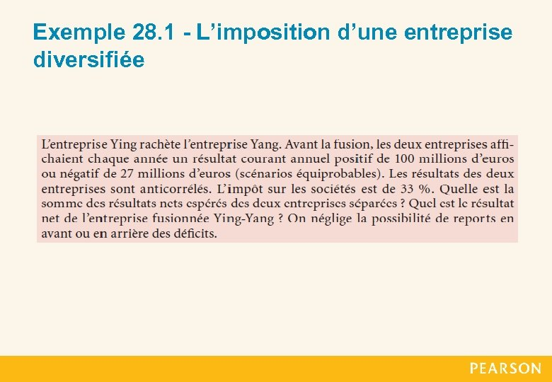 Exemple 28. 1 - L'imposition d'une entreprise diversifiée