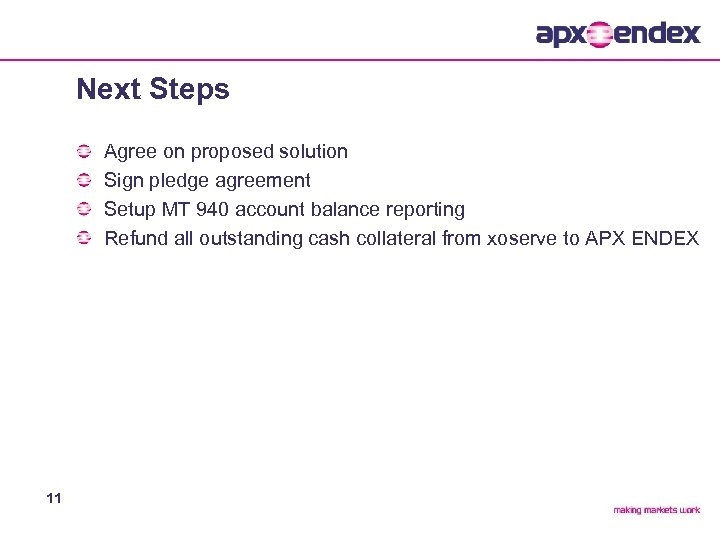 Next Steps Agree on proposed solution Sign pledge agreement Setup MT 940 account balance