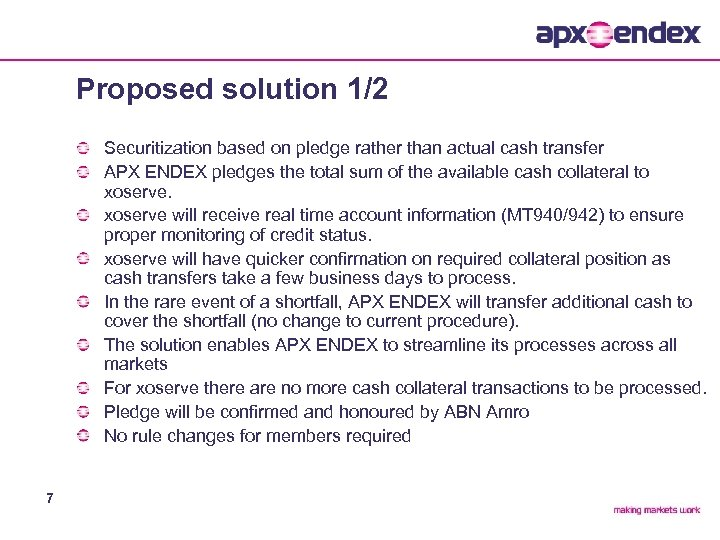 Proposed solution 1/2 Securitization based on pledge rather than actual cash transfer APX ENDEX