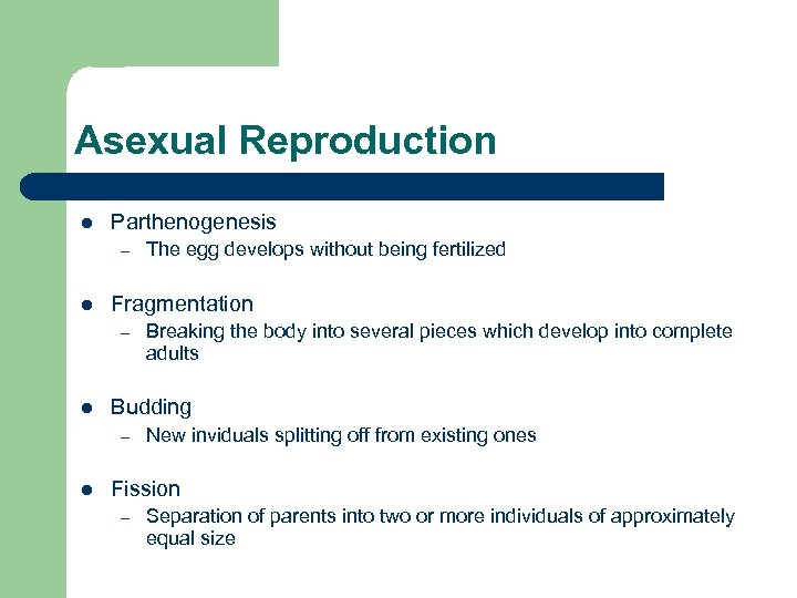 Asexual Reproduction l Parthenogenesis – l Fragmentation – l Breaking the body into several