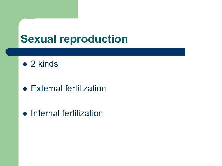 Sexual reproduction l 2 kinds l External fertilization l Internal fertilization