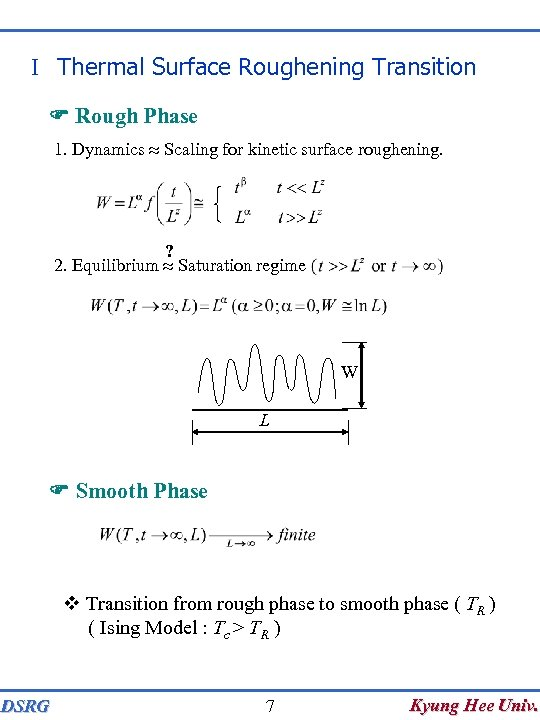 I Thermal Surface Roughening Transition F Rough Phase 1. Dynamics Scaling for kinetic surface