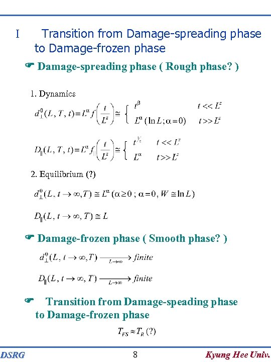 Transition from Damage-spreading phase to Damage-frozen phase I F Damage-spreading phase ( Rough phase?