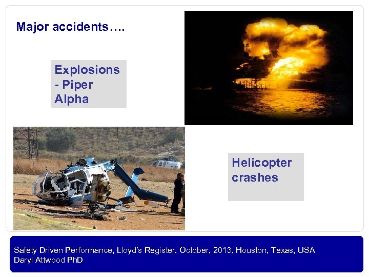 Major accidents…. Explosions - Piper Alpha Helicopter crashes OIL AND GAS Safety Driven Performance,