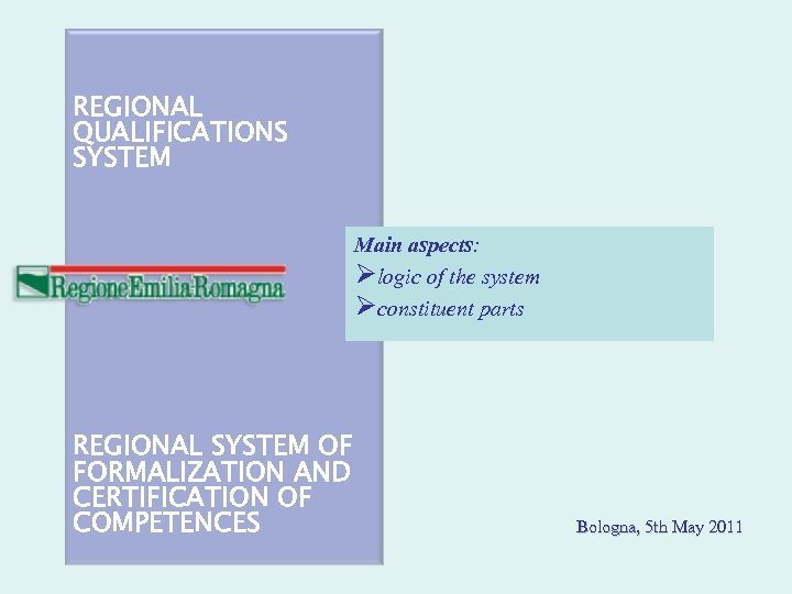 REGIONAL QUALIFICATIONS SYSTEM Main aspects: logic of the system constituent parts REGIONAL SYSTEM OF