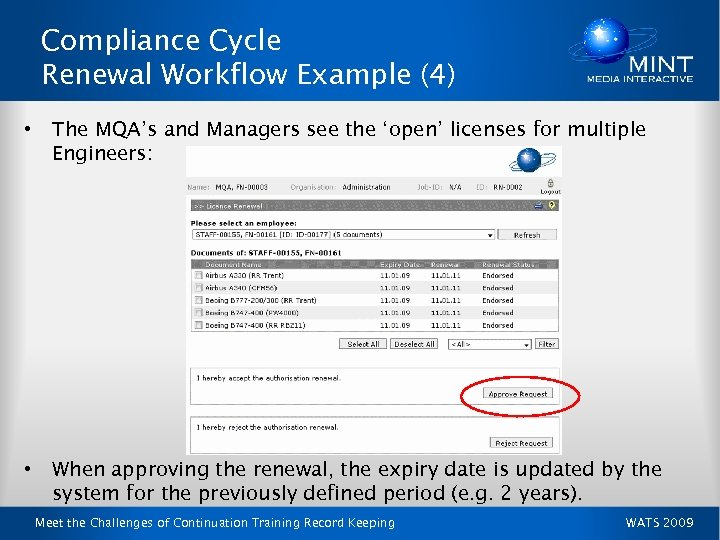 Compliance Cycle Renewal Workflow Example (4) • The MQA's and Managers see the 'open'