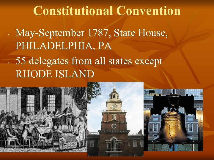 Constitutional Convention - - May-September 1787, State House, PHILADELPHIA, PA 55 delegates from all