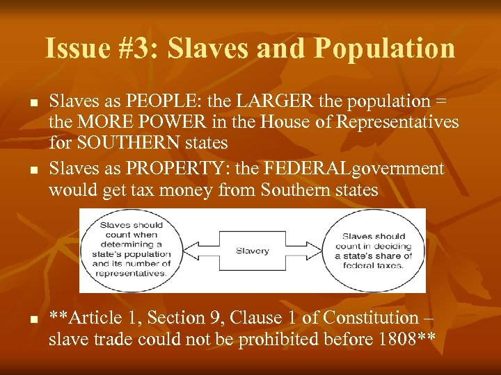 Issue #3: Slaves and Population n Slaves as PEOPLE: the LARGER the population =
