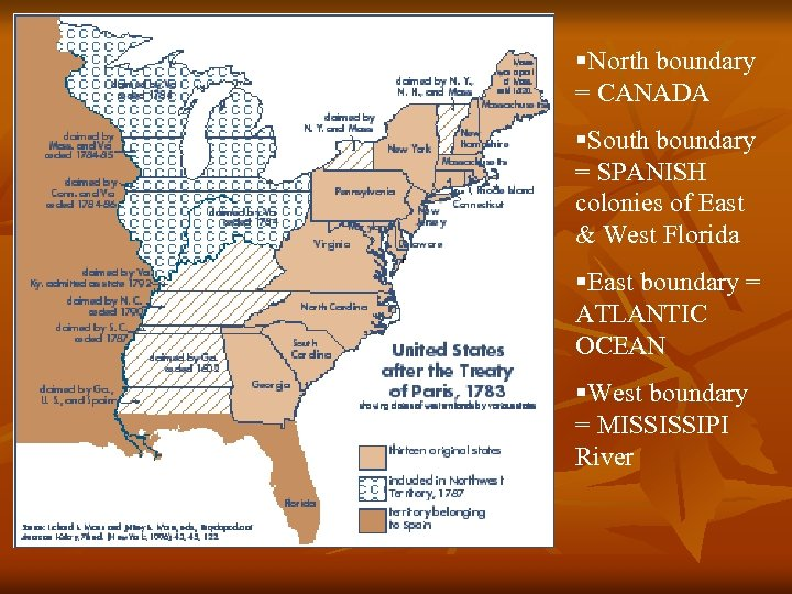 §North boundary = CANADA §South boundary = SPANISH colonies of East & West Florida