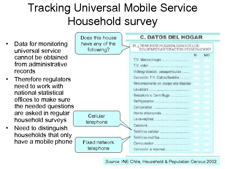 Tracking Universal Mobile Service Household survey • Data for monitoring universal service cannot be