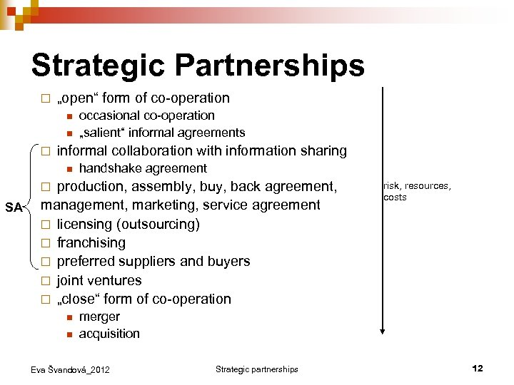 "Strategic Partnerships ¨ ""open"" form of co-operation n n ¨ occasional co-operation ""salient"" informal"