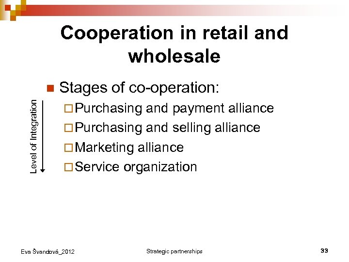 Cooperation in retail and wholesale Level of Integration n Stages of co-operation: ¨ Purchasing