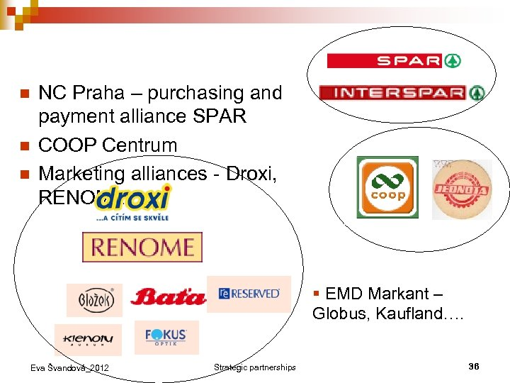 n n n NC Praha – purchasing and payment alliance SPAR COOP Centrum Marketing