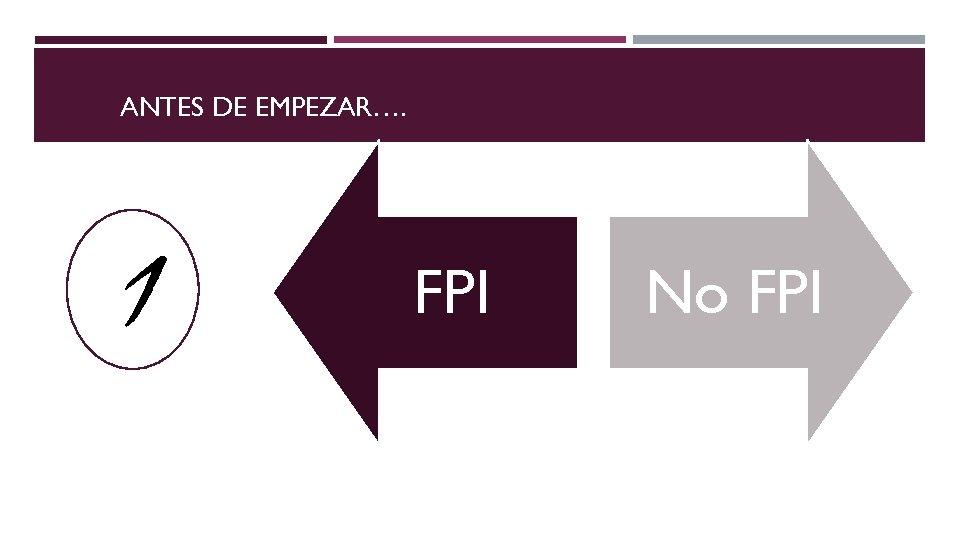 ANTES DE EMPEZAR…. 1 FPI No FPI