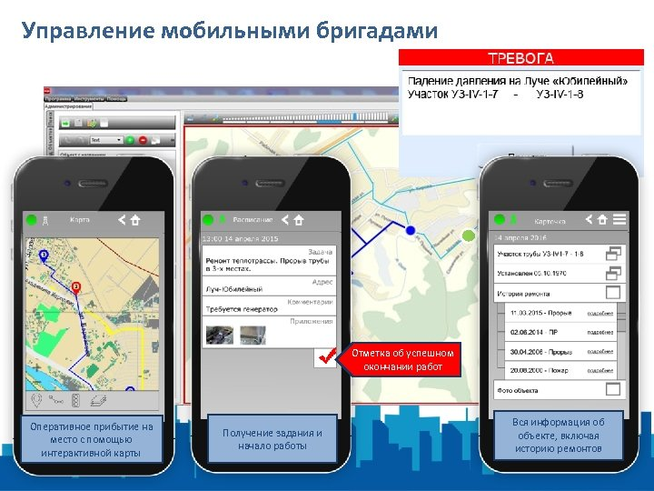 Управление мобильными бригадами Отметка об успешном окончании работ Оперативное прибытие на место с помощью