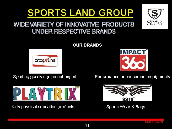 OUR BRANDS Sporting goods equipment expert Performance enhancement equipments Click to edit Master Kids