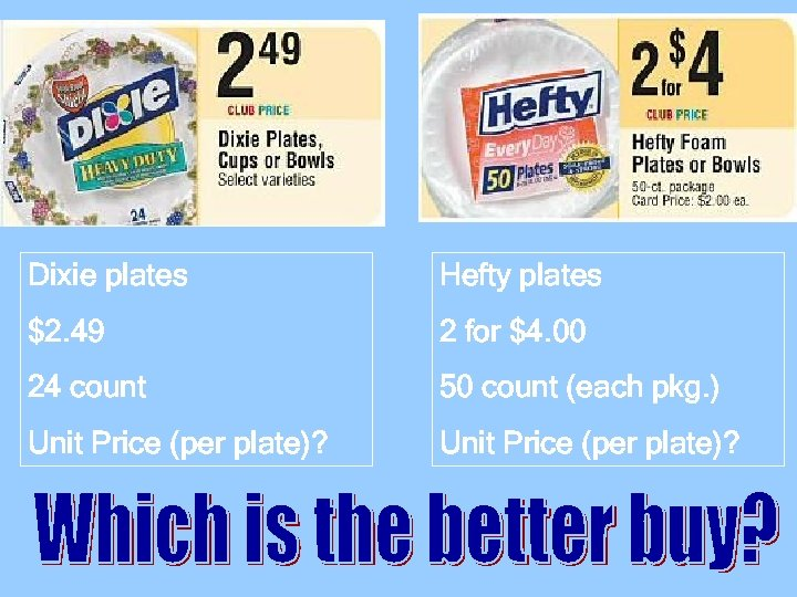 Dixie plates Hefty plates $2. 49 2 for $4. 00 24 count 50 count