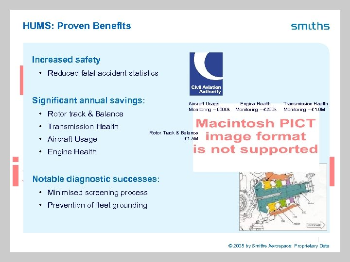 HUMS: Proven Benefits Increased safety • Reduced fatal accident statistics Significant annual savings: Aircraft