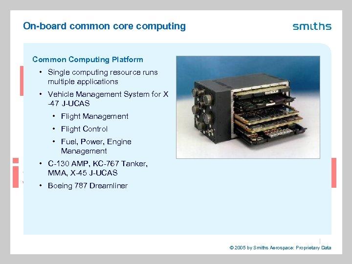 On-board common core computing Common Computing Platform • Single computing resource runs multiple applications