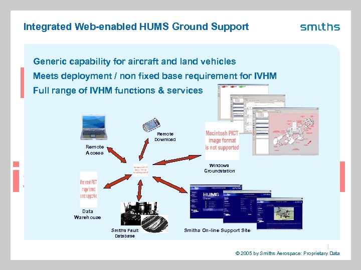 Integrated Web-enabled HUMS Ground Support Generic capability for aircraft and land vehicles Meets deployment