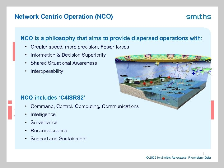 Network Centric Operation (NCO) NCO is a philosophy that aims to provide dispersed operations