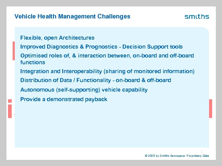 Vehicle Health Management Challenges Flexible, open Architectures Improved Diagnostics & Prognostics - Decision Support