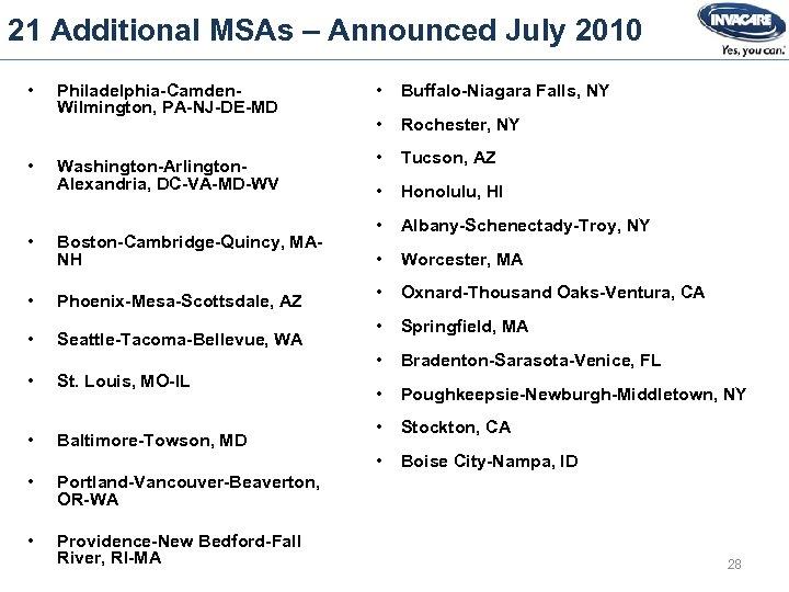 21 Additional MSAs – Announced July 2010 • • Boston-Cambridge-Quincy, MANH • Phoenix-Mesa-Scottsdale, AZ