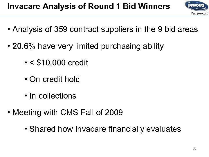 Invacare Analysis of Round 1 Bid Winners • Analysis of 359 contract suppliers in