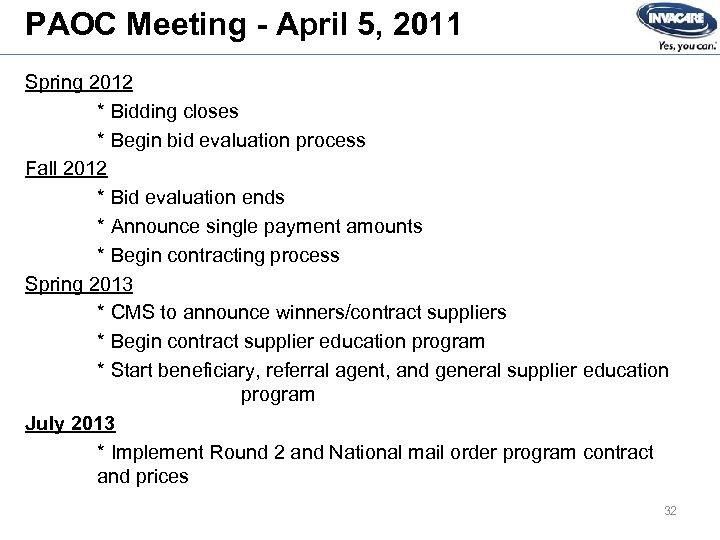 PAOC Meeting - April 5, 2011 Spring 2012 * Bidding closes * Begin bid