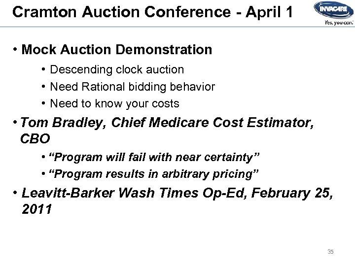 Cramton Auction Conference - April 1 • Mock Auction Demonstration • Descending clock auction