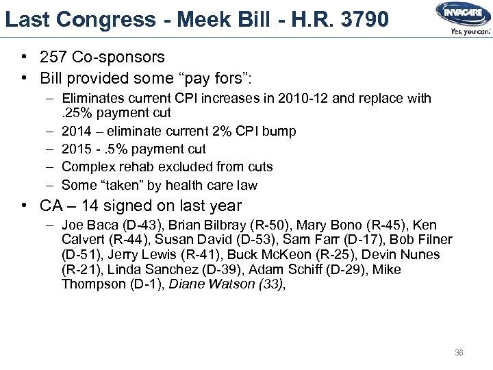 Last Congress - Meek Bill - H. R. 3790 • 257 Co-sponsors • Bill