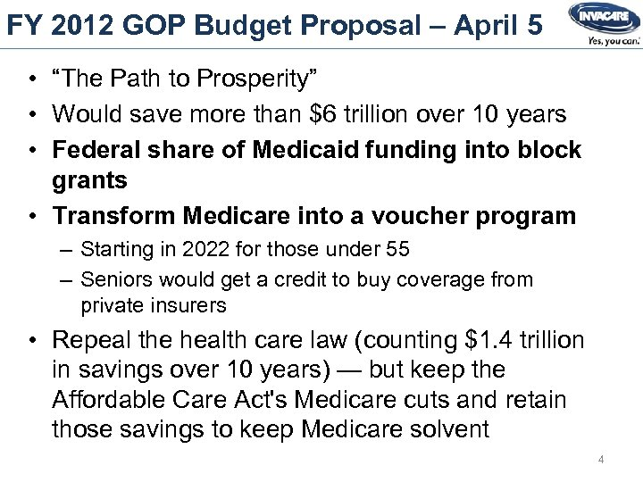 """FY 2012 GOP Budget Proposal – April 5 • """"The Path to Prosperity"""" •"""