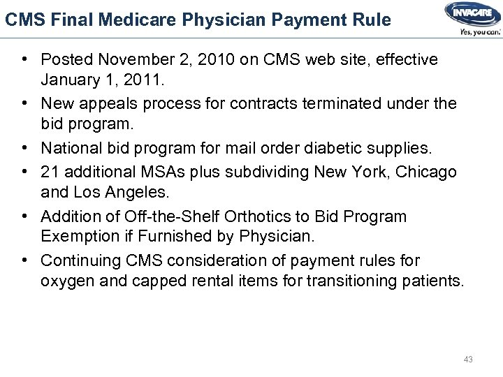 CMS Final Medicare Physician Payment Rule • Posted November 2, 2010 on CMS web