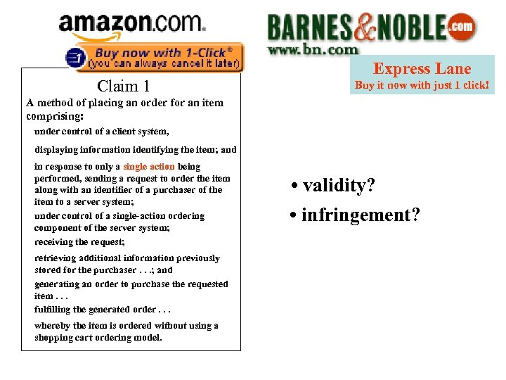 Claim 1 Express Lane Buy it now with just 1 click! A method of