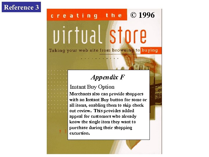 Reference 3 © 1996 Appendix F Instant Buy Option Merchants also can provide shoppers
