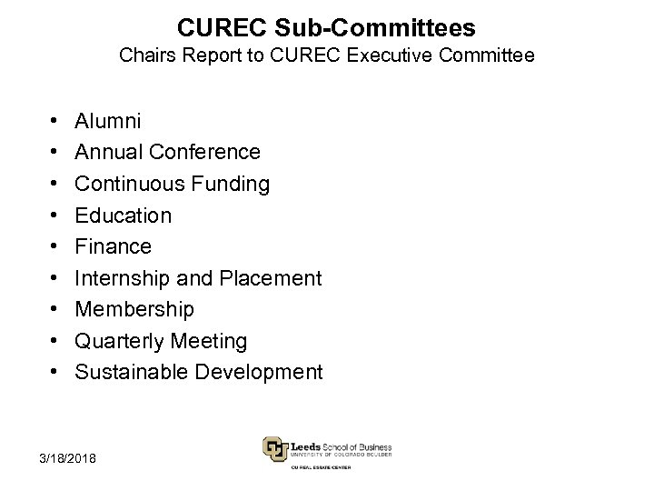 CUREC Sub-Committees Chairs Report to CUREC Executive Committee • • • Alumni Annual Conference