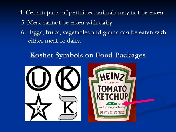 4. Certain parts of permitted animals may not be eaten. 5. Meat cannot be