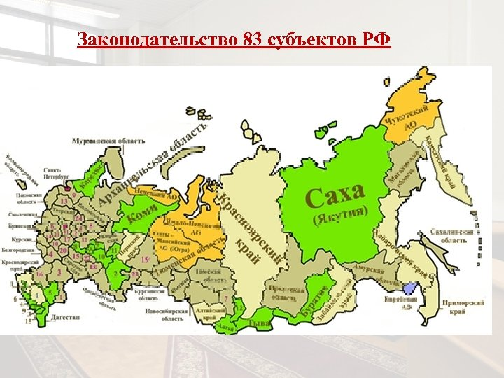 Законодательство 83 субъектов РФ