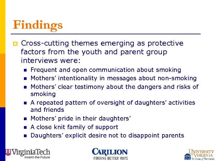 Findings p Cross-cutting themes emerging as protective factors from the youth and parent group